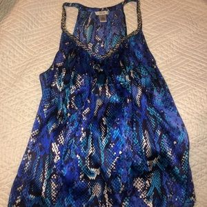 Cache blue snakeskin print fancy top